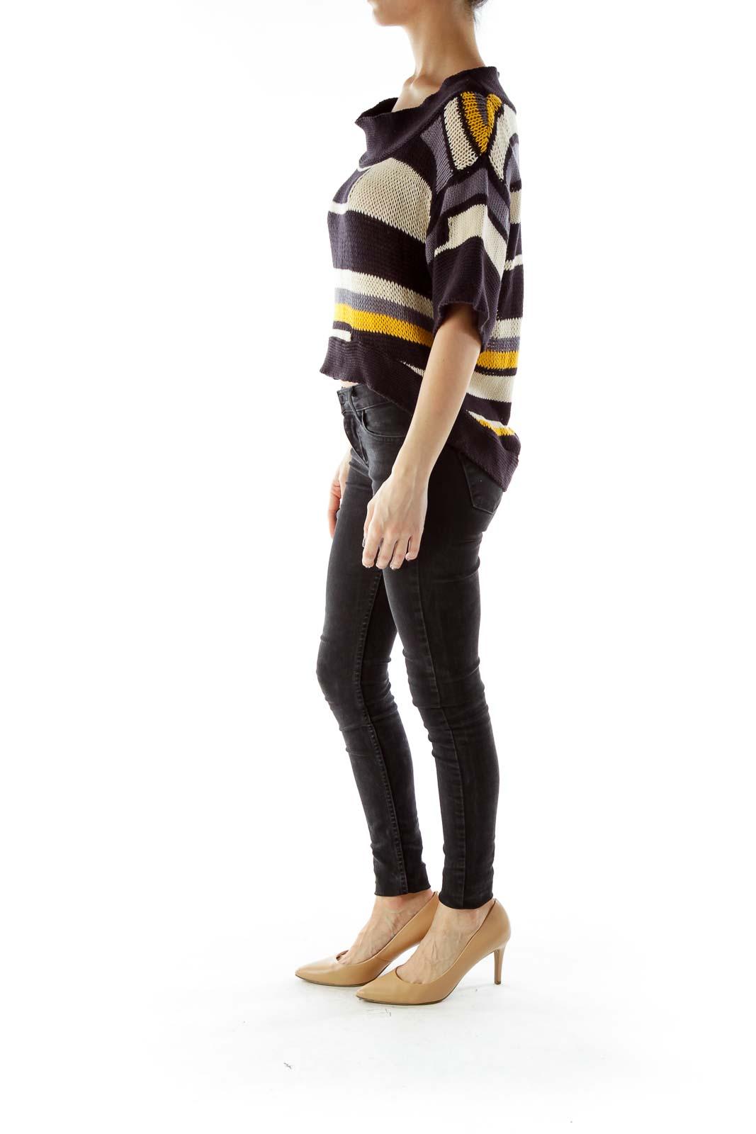 Black Yellow Striped Knit