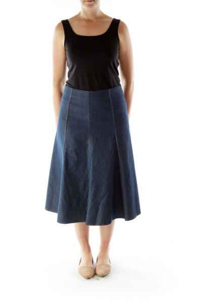 Blue Denim Midi Skirt