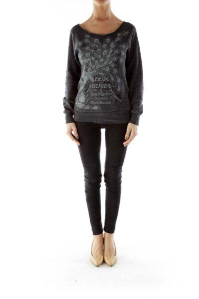 Gray Off-Shoulder Sweatshirt