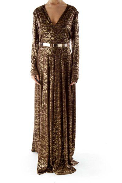 Brown Metallic Evening Dress