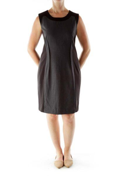 Gray Black Color Block Work Dress