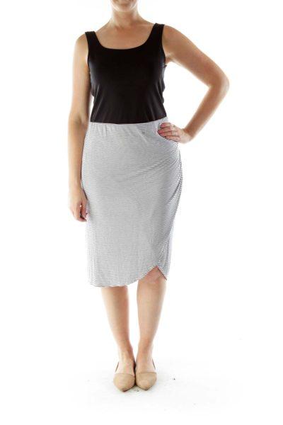 Blue White Striped Skirt