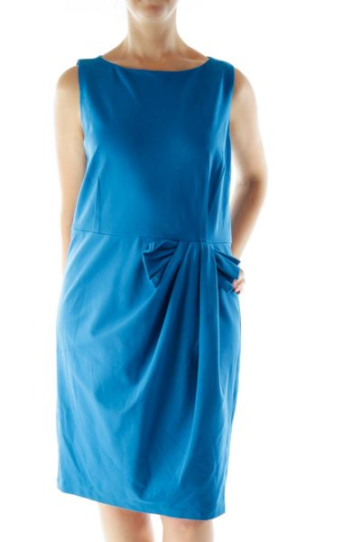 Blue Fitted Work Dress