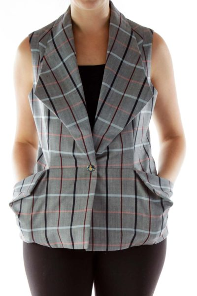 Gray Checkered Vest