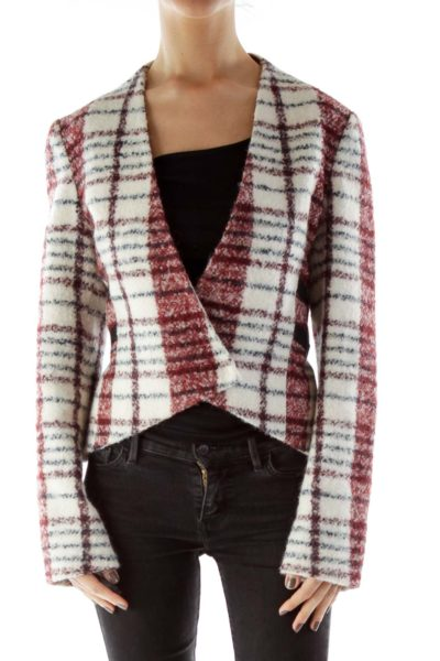 Cream Red Checkered Virgin Wool Jacket