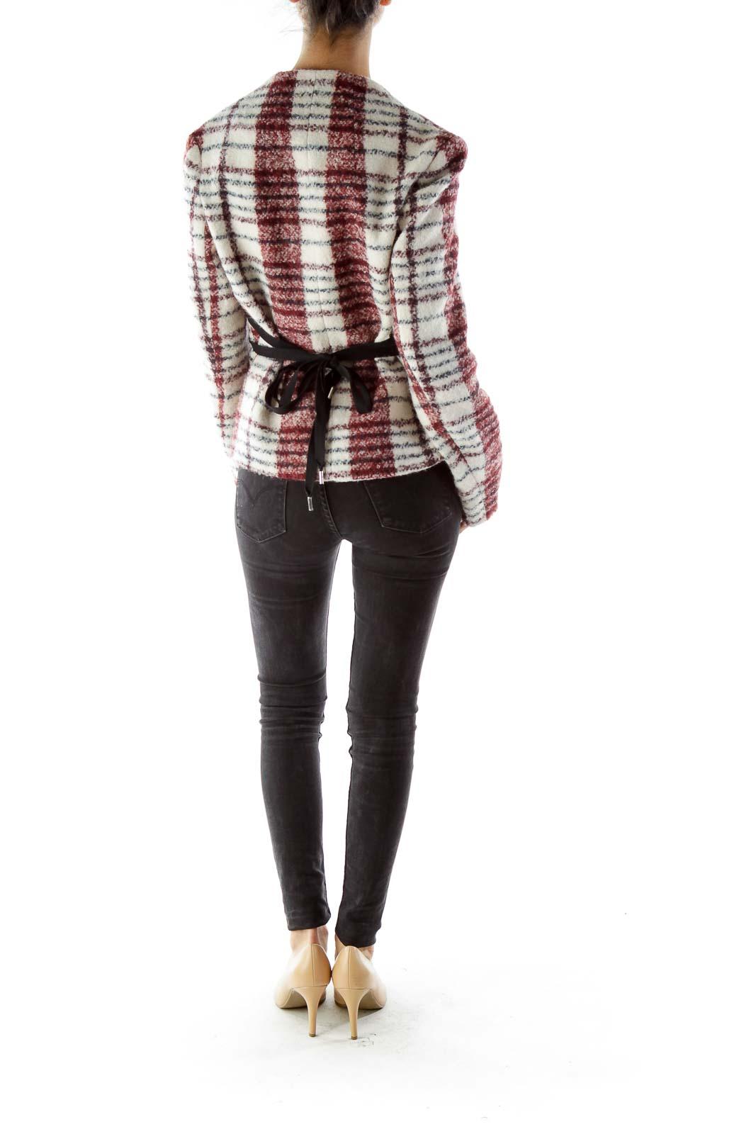 Cream Red Checkered Virgin Wool Jacket