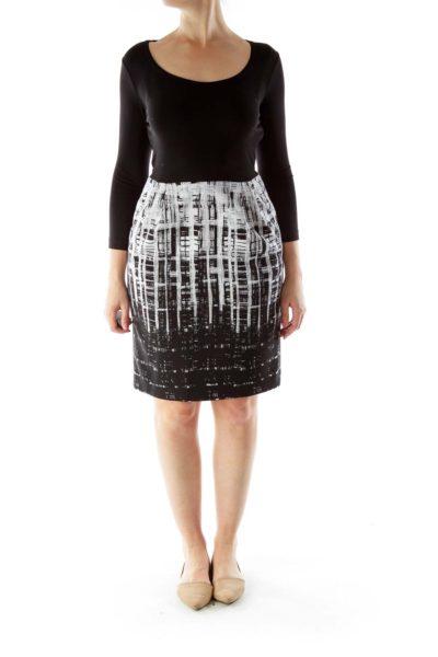 Black White Print Dress