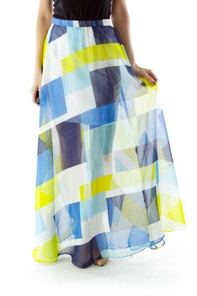 Blue White Yellow Checkered Maxi Skirt