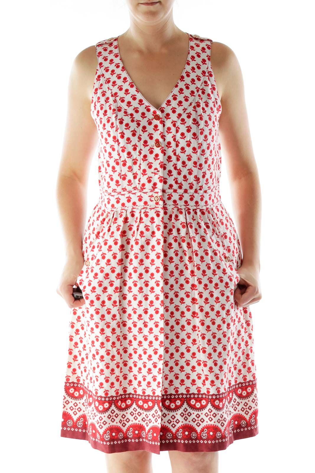 Red White Flower Print Day Dress