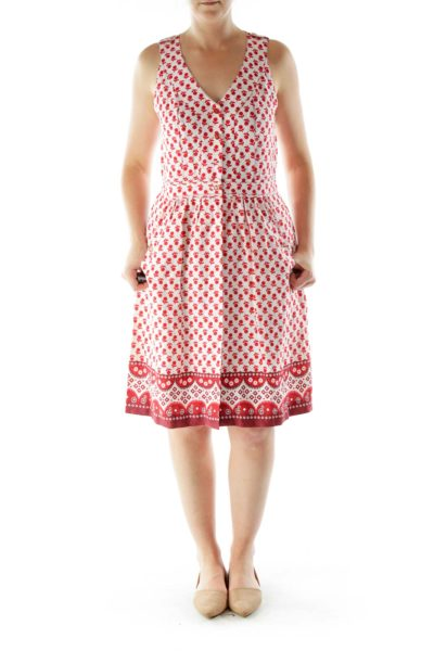 Red White Flower Print Day Dress