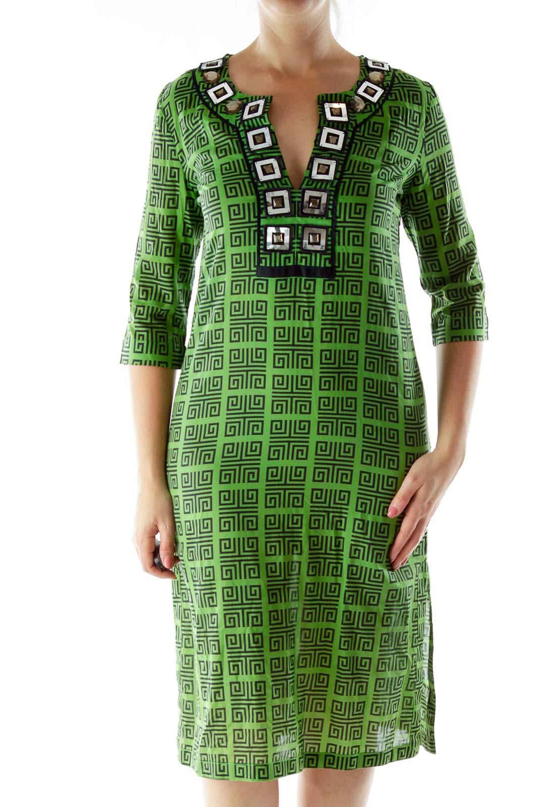 Green Blue Geometric Print Dress