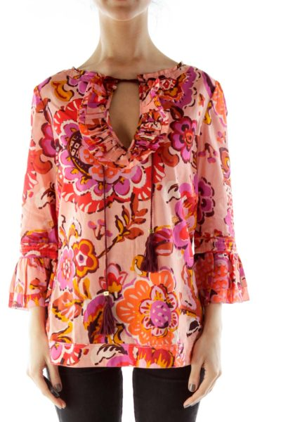 Pink Red Flower Print Blouse