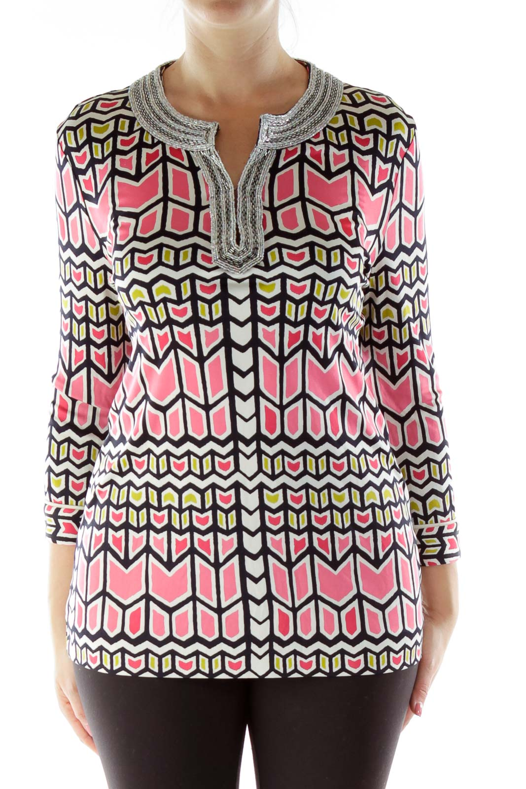 Pink Beaded Blouse