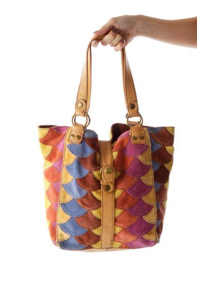 Multicolor Scalloped Shoulder Bag