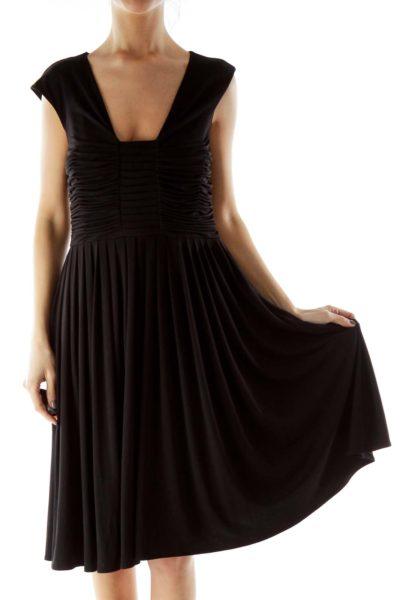 Black Scrunch Detail Flared Dress