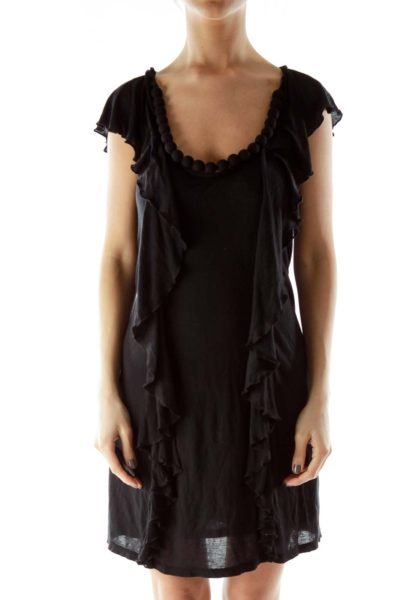 Black Ruffle Bead Detail Dress