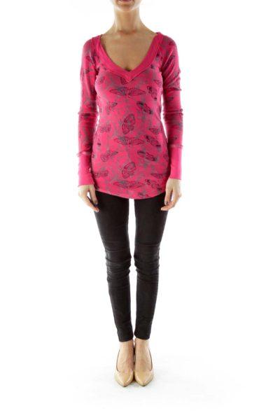 Pink Print V-neck Top