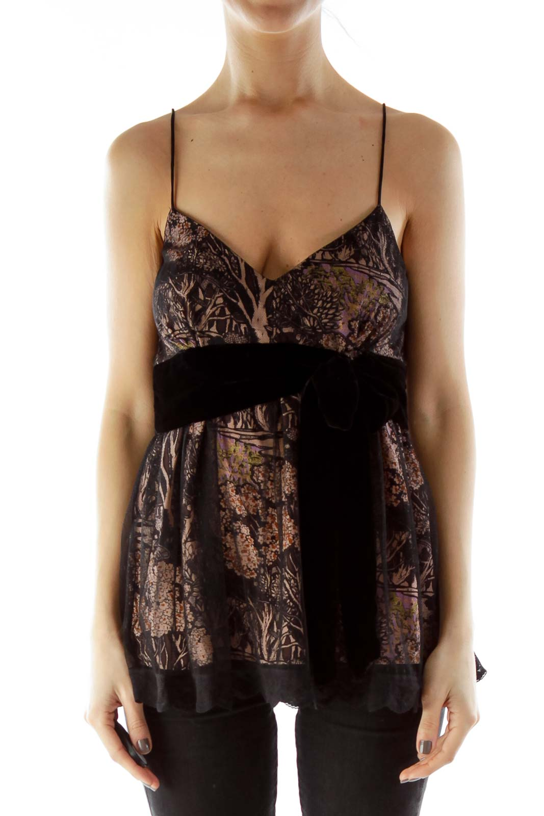 Black Tan Lace Top with Velvet Belt
