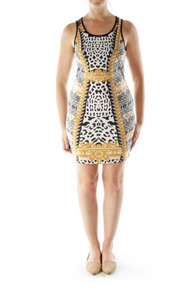 Black White Yellow Print Dress