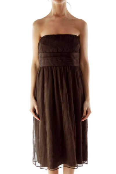 Brown Strapless Silk Dress