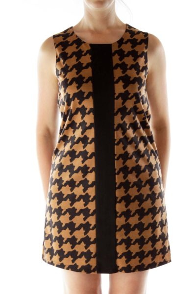 Black Brown Print Shift Dress