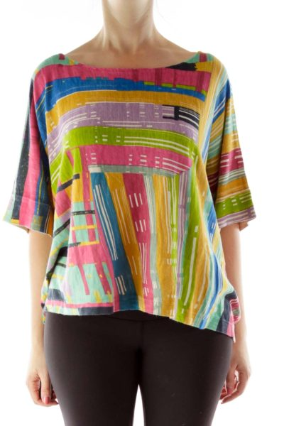 Multicolor Bat Sleeve Knit Top