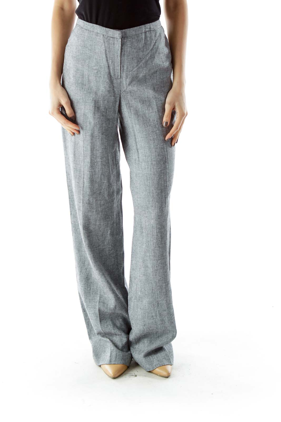 Gray Straight Leg Linen Pants