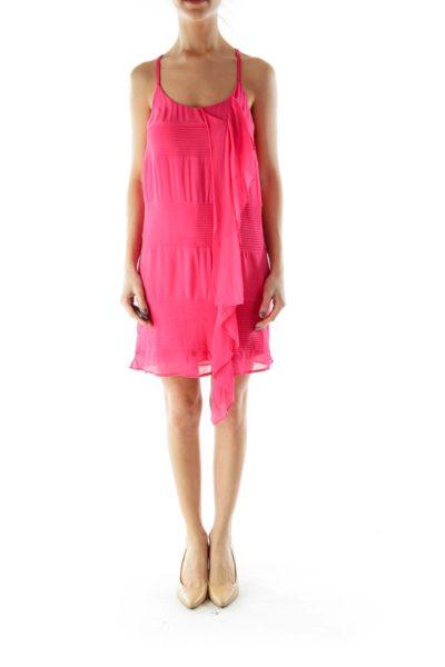 Pink Ribbed Detail Cocktail Dress