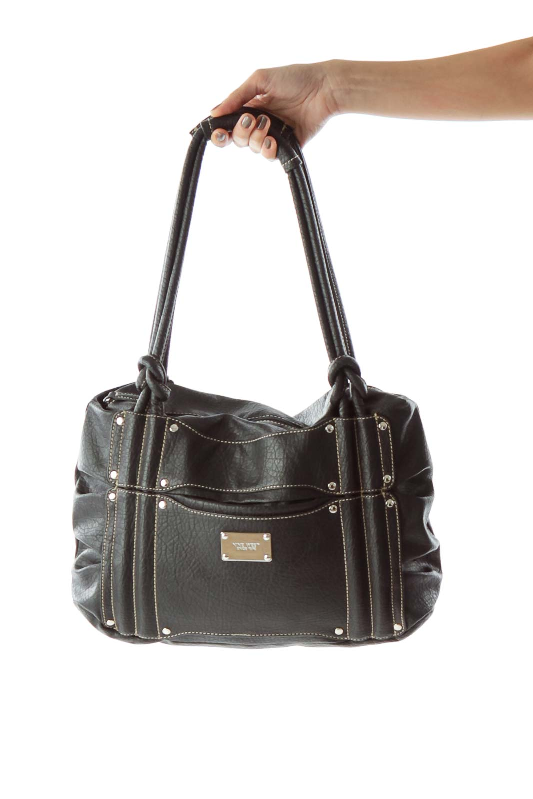 Black Faux-Leather Shoulder Bag