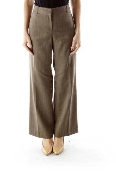 Brown Linen Texture Pants