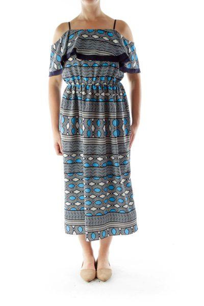 Blue White Black Off-shoulder Maxi Dress