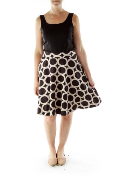 Black Beige Flared Print Skirt
