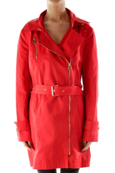 Red Trench Rain Coat