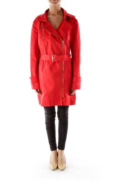 Red Trench Rain Coat
