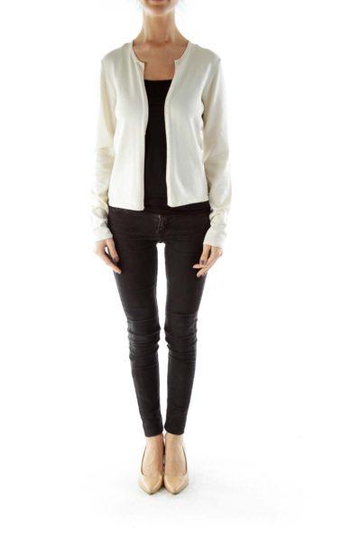 Cream Silk Knit Cardigan