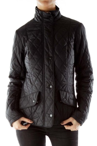 Black Down Quilted Zipper Coat
