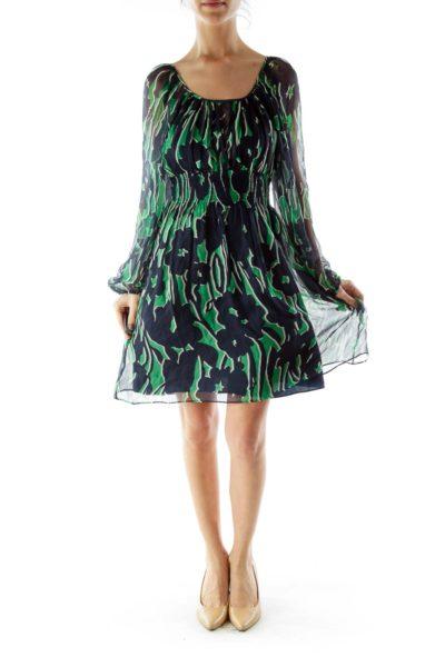 Blue Green Print Silk Dress