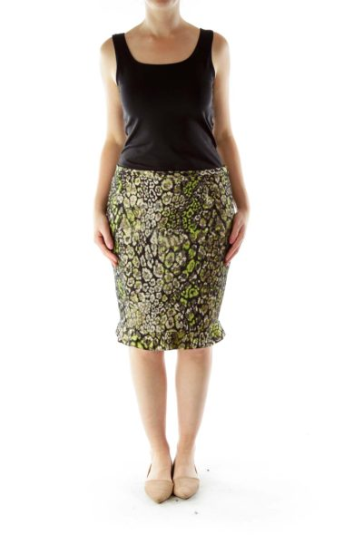 Black Green Metallic Print Skirt