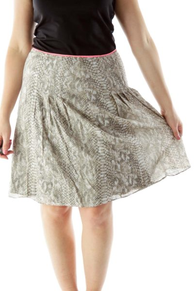 Beige Snake Skin Print Skirt