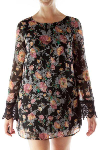 Black Gray Floral Shift Dress