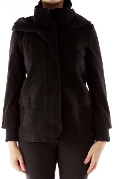 Black Hooded Duffle Coat