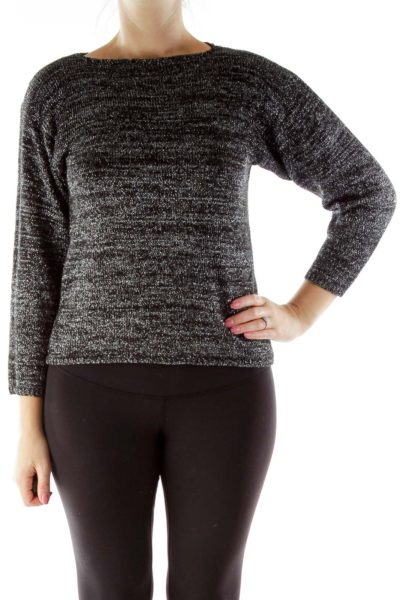 Black Silver Metallic Sweater