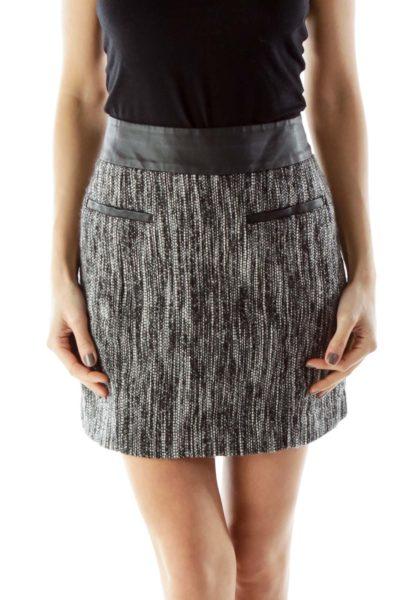 Black White Mottled Miniskirt