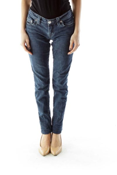 Navy Skinny Long Jeans