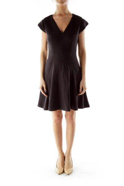 Black V-neck Flared Dress