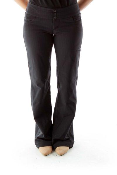 Gray Pinstripe Wide-Leg Pants