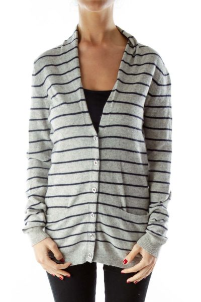 Gray Navy Buttoned Pocketed Cardigan