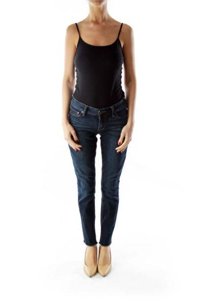 Navy Distressed Skinny Jeans