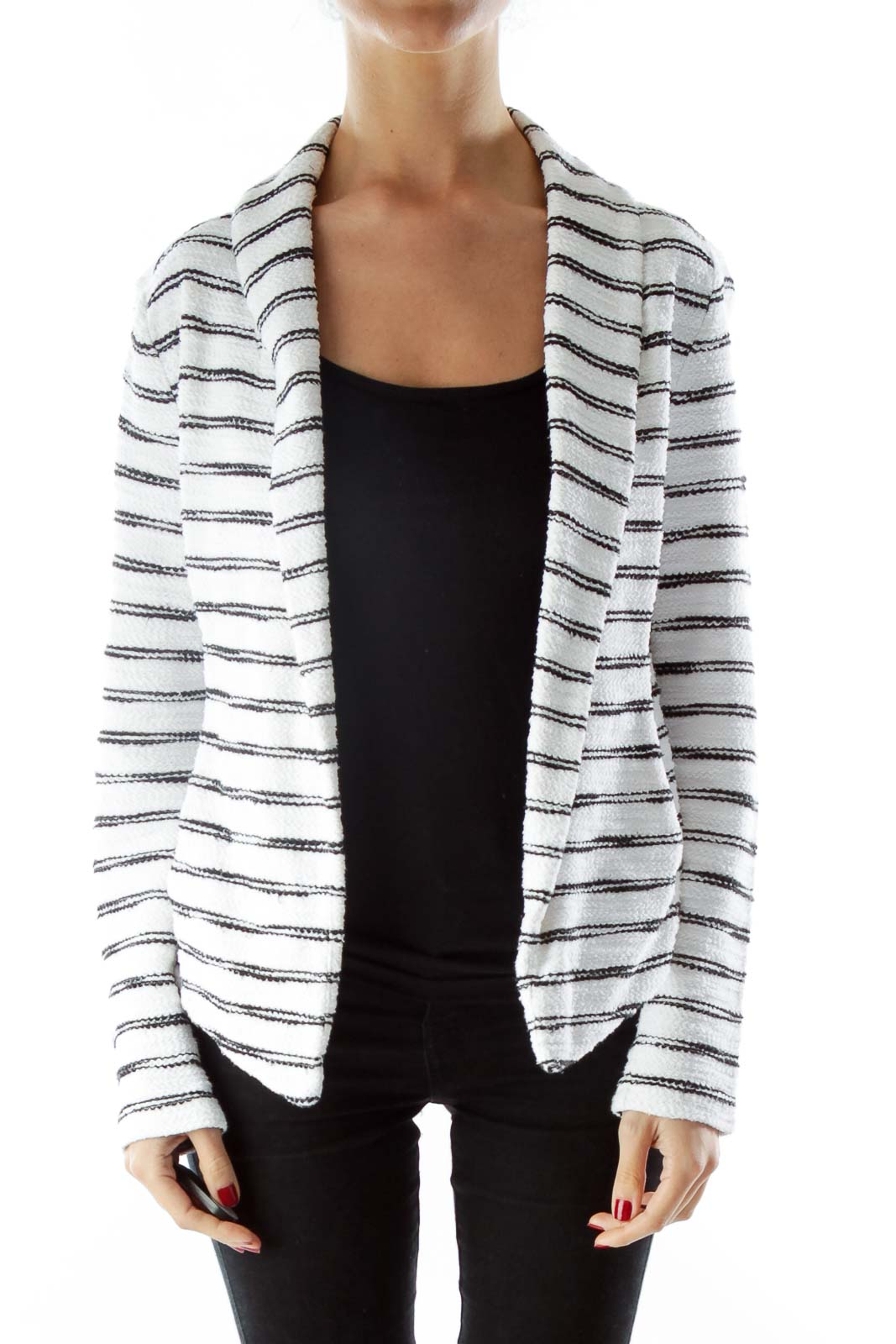 White Black Striped Pocketed Open Jacket