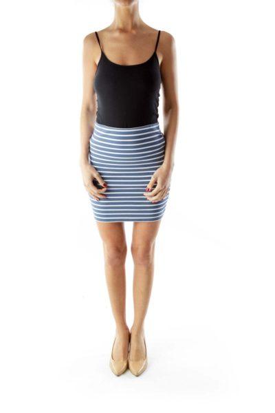 Blue White Striped Elastic Mini Skirt